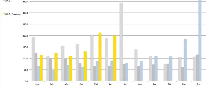 Zubau 206,542 MW im Juni – Prognose passt